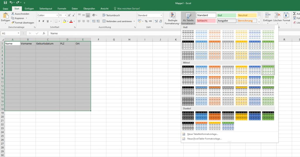 Tabelle formatieren in Excel